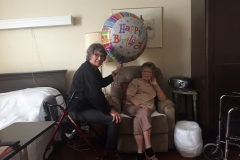 Visiting Connie's mom on their birthing - birthday