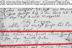 John Muir (John & Janet) Birth 1702
